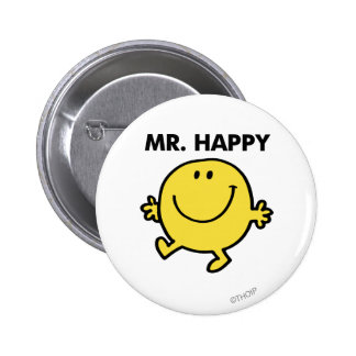 Herr Happy tanzendes u. lächelndes | Runder Button 5,7 Cm