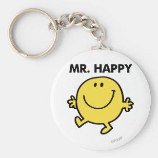 Herr Happy tanzendes u. lächelndes   Standard Runder Schlüsselanhänger