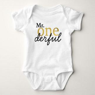 Herr Onederful Black und Goldbaby-Shirt Baby Strampler