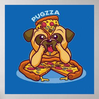 Herr Pugzza der Pizza-Mops Poster