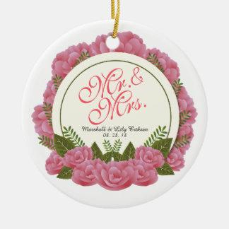 Herr-u. Frau-Elegant Floral Frame Wedding Keramik Ornament