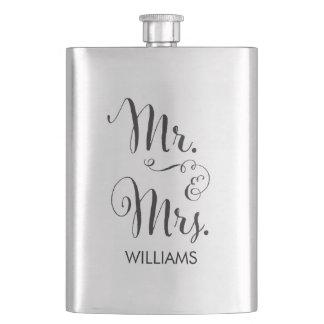 Herr u. Frau Fancy Script Flask Taschenflaschen