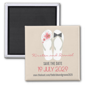 Herr-u. Frau-Flip Flops Wedding Save the Date Quadratischer Magnet