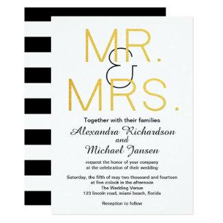 Mr. & Mrs. Gold Elegant Typography Wedding Card