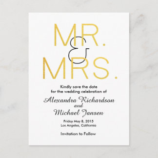 Mr. & Mrs. Gold Elegant Typography Save the Date