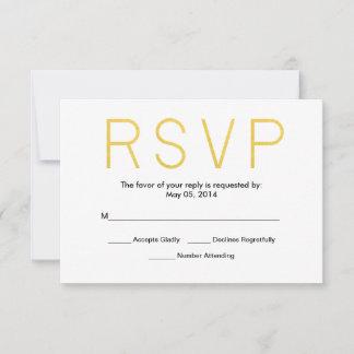 Mr. & Mrs. Gold Elegant Typography Wedding RSVP