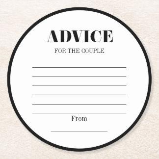 Herr-u. Frau-Modern Bold Wedding Advice Runder Pappuntersetzer