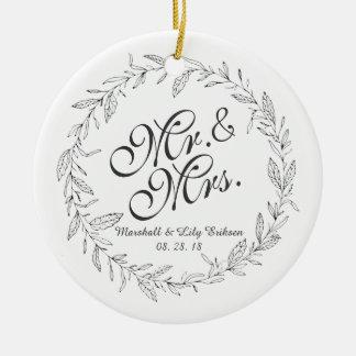 Herr-u. Frau-Simple Floral Wedding | Verzierung Keramik Ornament