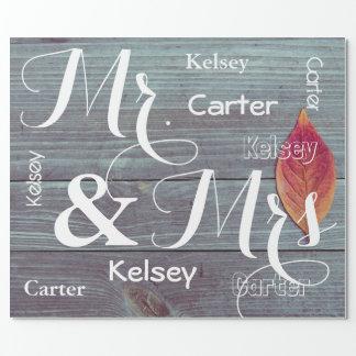 Herr u. Frau Wedding/Jahrestags-personalisierte Geschenkpapier