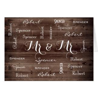Herr u. Herr Rustic u. romantische Hochzeit Karte