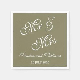 Herr und Frau Bride Groom Date Wedding Serviette