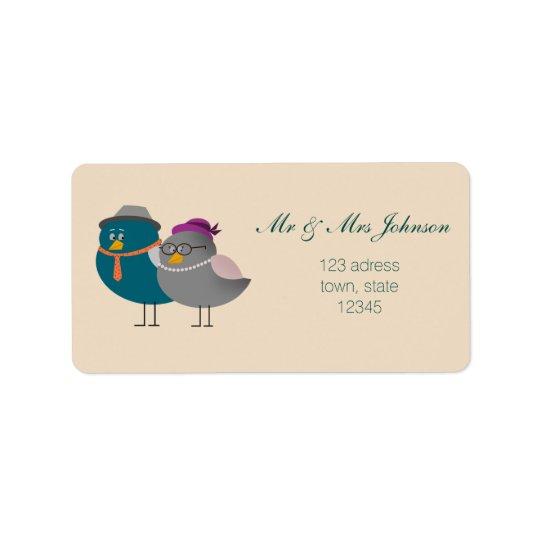 Herr-und Frau-Cute Birds Cartoon Adressen-Etikett Adressaufkleber