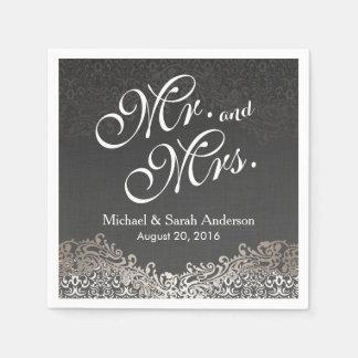 Herr-und Frau-Elegant Dark Silver Damask Hochzeit Servietten