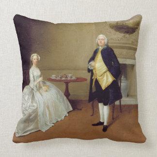 Herr und Frau Hill, c.1750-51 (Öl auf Leinwand) Zierkissen