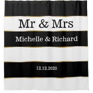 Herr-und Frau-Names Wedding Date Schwarz-weiße Duschvorhang