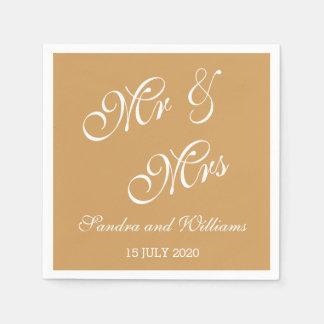 Herr und Frau Napkins Gold Wedding Papierservietten