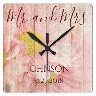 Herr und Frau Personalized Floral Quadratische Wanduhr