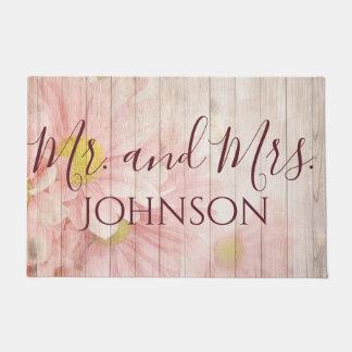 Herr und Frau Pretty Pink Flowers Türmatte