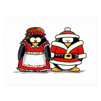 Herr-und Frau-Weihnachtsmann Pinguin Postkarte