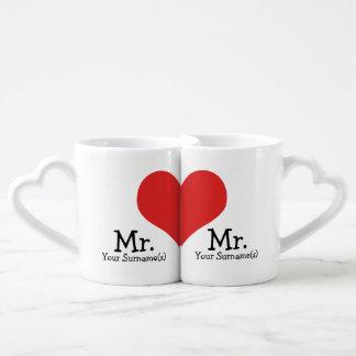 Herr und Herr zwei Bräutigam-Herz-Hochzeit Partnertassen