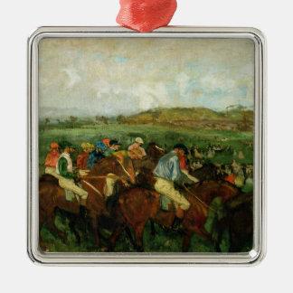 Herren Edgar Degass | laufen, vor der Abfahrt Quadratisches Silberfarbenes Ornament