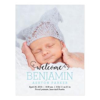 HERRLICHE moderne Geburts-Mitteilung Postkarte