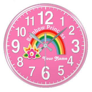 Herrliche Regenbogen-Prinzessin Clock PERSONALIZED Große Wanduhr
