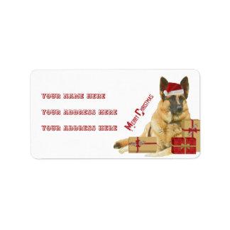 Herrliche Schäferhund-Feiertags-Adressen-Etiketten Adressaufkleber