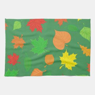 Herrliches grünes Herbst-Blätter Geschirrtuch