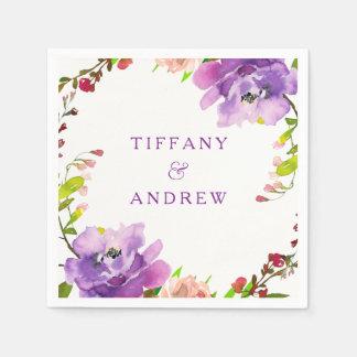 Herrliches lila Blumenwatercolor-Verlobungs-Party Papierserviette
