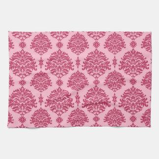 Herrliches Shabby Chic-Rosa auf rosa Damast Handtuch