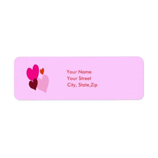 Herz-Adressen-Etikett Rückversand-Adressaufkleber