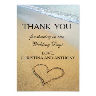 Herz auf der Ufer-Strand-Hochzeit danken Ihnen zu 11,4 X 15,9 Cm Einladungskarte