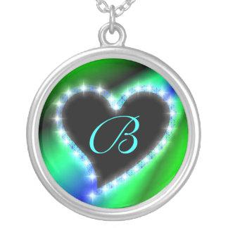 Herz auf Regenbogen mit Buchstabe B Versilberte Kette