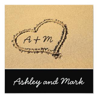 Herz auf Strand-Hochzeits-Einladung Quadratische 13,3 Cm Einladungskarte