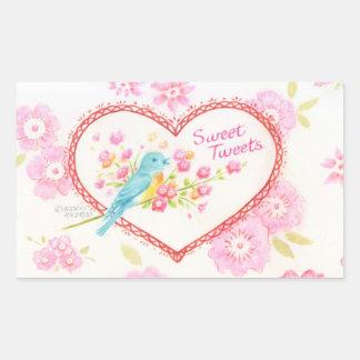 Herz-Aufkleber-Bonbon tweetet der blaue Blumen Rechteckiger Aufkleber
