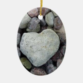 Herz aus Stein Ovales Keramik Ornament