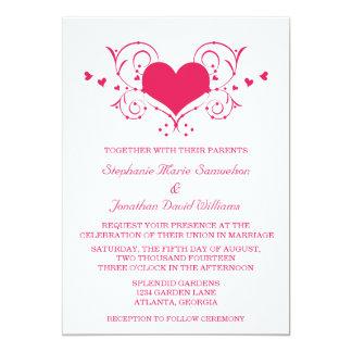 Herz blühen Hochzeit einladen, dunkles Rosa 12,7 X 17,8 Cm Einladungskarte