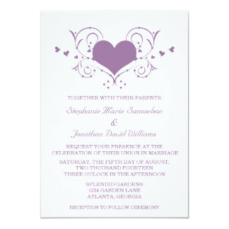 Herz blühen Hochzeit einladen, lila 12,7 X 17,8 Cm Einladungskarte