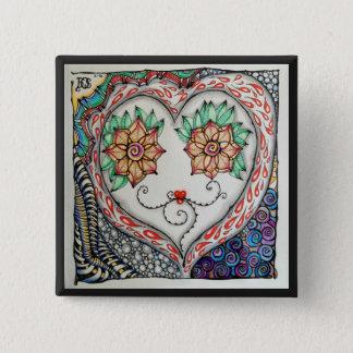 Herz-Button (2-Zoll-Quadrat) Quadratischer Button 5,1 Cm