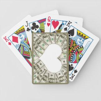 Herz der Geld entworfenen Spielkarten