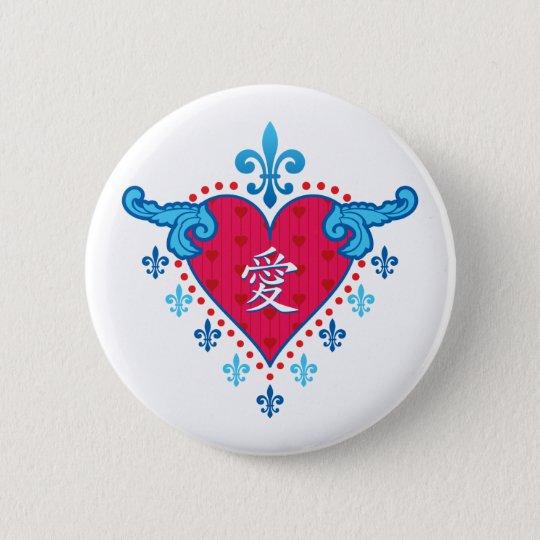 Herz der Liebe (chinesisch) Runder Button 5,1 Cm