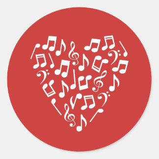 Herz der Musiknoten-Aufkleber - rund Runder Aufkleber