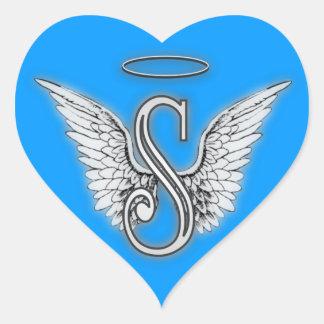Herz-Engel Wings Monogramm Herz-Aufkleber