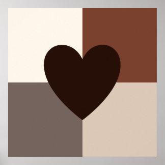 Herz-Entwurfs-warme Farben Poster