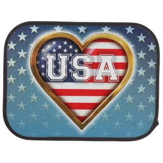 Herz-Förmige amerikanische Flagge Autofußmatte