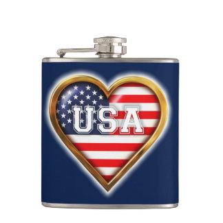 Herz-Förmige amerikanische Flagge Flachmann
