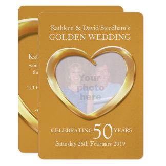 Herz-Foto der goldenen Hochzeit 50 Jahre Party 12,7 X 17,8 Cm Einladungskarte