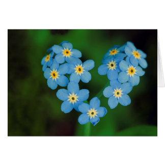 Herz-geformte Vergissmeinnicht-Blumen Karte