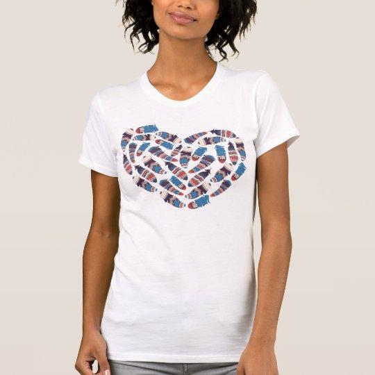 Herz geformter Federsymbolentwurf T-Shirt